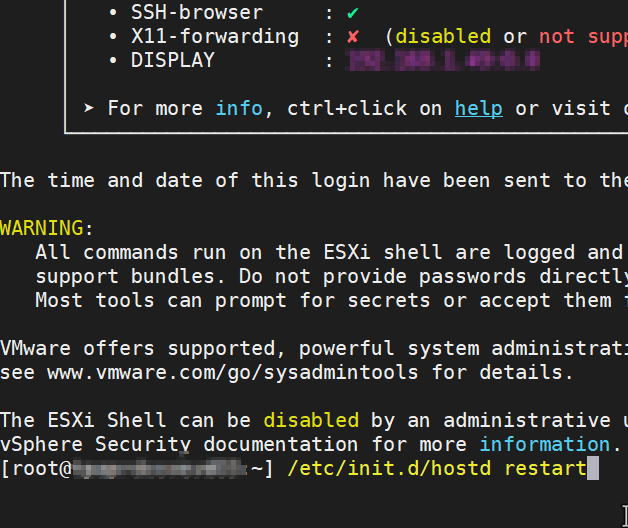 Restart ESXi Host Management Agents on 6.5 via SSH