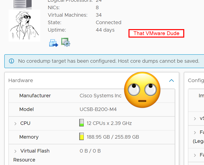 Fixing missing coredumps error in ESXi