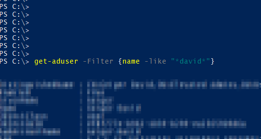 "get-aduser -Filter {name -like ""*dave*""}"